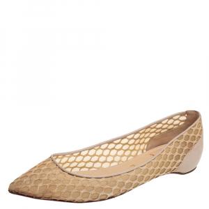 حذاء فلات باليه كريستيان لوبوتان شبك وجلد بيج مقاس 39