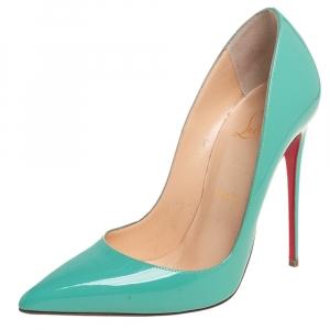 حذاء كعب عالي كريستيان لوبوتان سو كايت جلد أخضر مائي بمقدمة مدببة مقاس 37