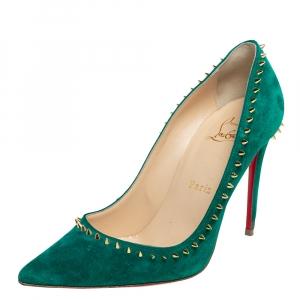 Christian Louboutin Green Suede Anjalina Pumps Size 36.5