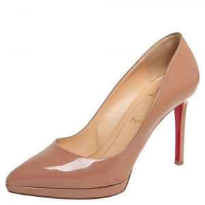 Christian Louboutin Beige Patent Leather Pigalle Plato Pointed Toe Pumps Size 39