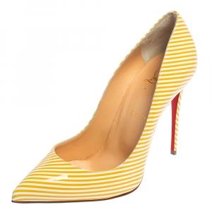 حذاء كعب عالي كريستيان لوبوتان بيغال فوليز جلد لامع مخطط أصفر/أبيض مقاس 38.5