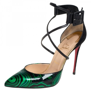 Christian Louboutin Multicolor Malachite Swirl Patent Leather And Suede Suzanna Ankle Strap Pumps Size 40.5