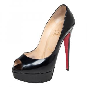 حذاء كعب عالي كريستيان لوبوتان ليدي مقدمة مفتوحة نعل سميك جلد لامع أسود مقاس 36.5