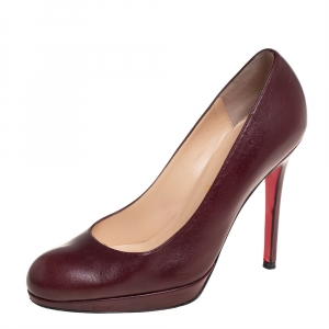 Christian Louboutin Burgundy Leather New Simple Pumps Size 38