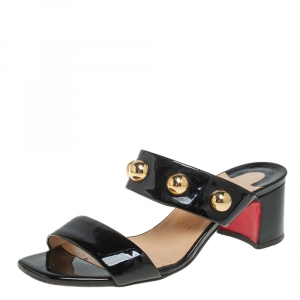 Christian Louboutin Black Patent Leather Simple Bille Studded Sandals Size 38.5 - used