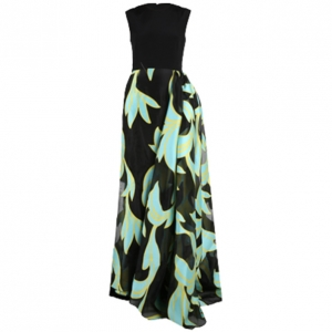 Christian Siriano Black and Turquoise Silk Printed Gown S