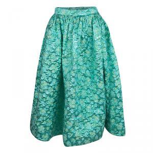 Christian Siriano Metallic Green Floral Jacquard Bubble Lamé Tea Length Skirt M