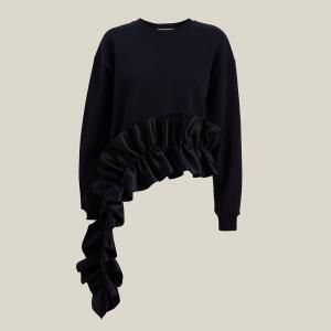 Christopher Kane Black Ruffled Asymmetric Hem Cotton Sweatshirt L