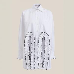 Christopher Kane White Front Cutout Long Sleeve Cotton Shirt IT 50