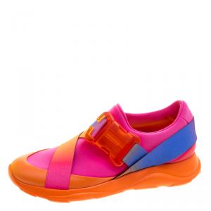 Christopher Kane Multicolor Neon Fabric Safety Buckle Low Top Sneakers Size 37