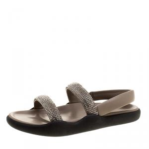 Christopher Kane Beige Crystal Embellished Flat Sandals Size 38