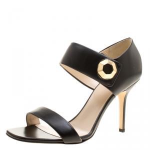Christopher Kane Black Leather Metal Detail Sandals Size 40