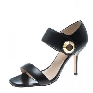 Christopher Kane Black Leather Metal Detail Sandals Size 37