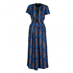 Christopher Kane Floral Printed Silk Zip Detail Maxi Dress M