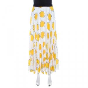 Christopher Kane White and Yellow Sunshine Print Pleated Midi Skirt S