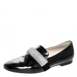 Christopher Kane Black Patent Leather Crystal Embellished Loafers Size 37