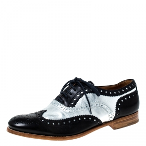 Church's Metallic Silver And Black Brogue Leather Oxfords Size 37