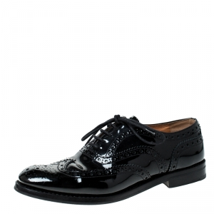 Church's Black Brouge Leather Lace Up Oxfords Size 37