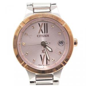 Citizen Pink MOP Sapphire Glass and Titanium Radio Wave Es8084-59W Women's Wristwatch 25MM