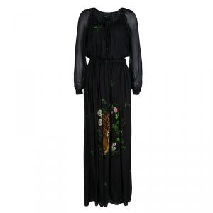 Class by Roberto Cavalli Black Leopard Figure Floral Print Long Sleeve Maxi Dress S - used