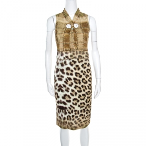 Class by Roberto Cavalli Multicolor Animal Printed Snake Buckle Detail Cutout Back Dress M - used