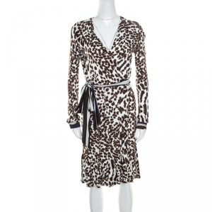 Class by Roberto Cavalli White Leopard Printed Knit Long Sleeve Wrap Dress M - used