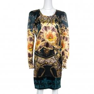 Class by Roberto Cavalli Green Floral Printed Satin Burnout Velvet Trim Detail Dress L - used