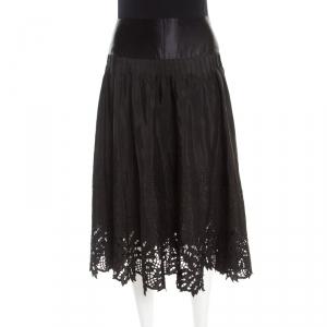 Class By Roberto Cavalli Black Embroidered Cutout Trim Detail Midi Skirt M