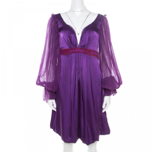 Class by Roberto Cavalli Purple Satin Embroidered Waist Detail Plunge Neck Dress M - used