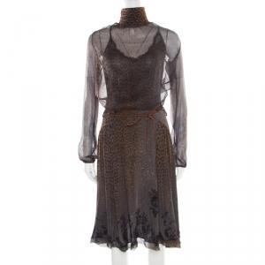 Class by Roberto Cavalli Grey Animal Printed Glitter Detail Cutout Back Dress M - used