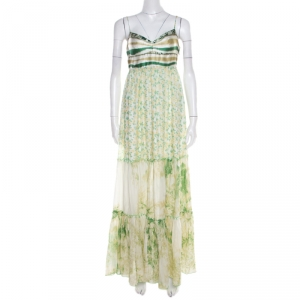 Class by Roberto Cavalli Green and White Printed Ruffled Detail Sleeveless Maxi Dress M - used