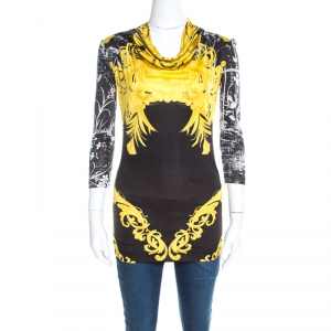 Class by Roberto Cavalli Black and Yellow Baroque Floral Print Cowl Neck Top S