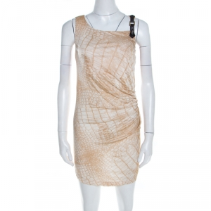 Class by Roberto Cavalli Beige Snakeskin Printed Leather Trim Ruched Fitted Dress M - used