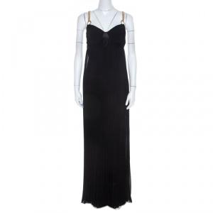 Class By Roberto Cavalli Black Pleated Chiffon Gold Chain Strap Detail Maxi Dress M - used