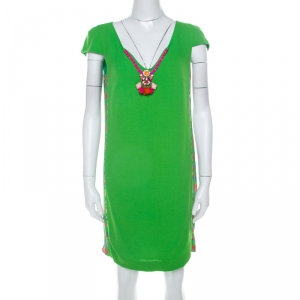 Cavalli Class Neon Green Crepe Embellished Neck Detail Cap Sleeve Shift Dress M