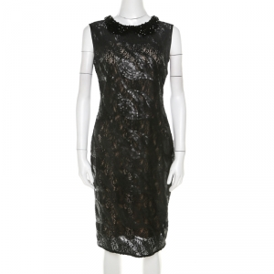 Class by Roberto Cavalli Black Sequined Lace and Beaded Collar Detail Dress M used