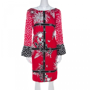 Cavalli Class Red and Black Floral Print Crepe Tunic Shift Dress M