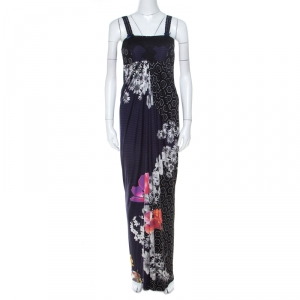 Class by Roberto Cavalli Multicolor Printed Jersey Lace Bodice Dress M