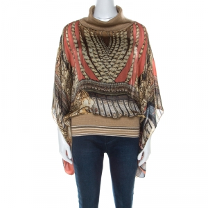 Class by Roberto Cavalli Multicolor Printed Silk and Wool Trim Detail Top L