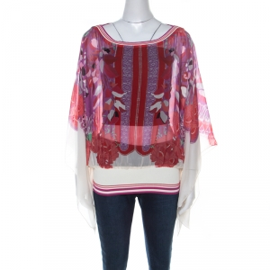 Class by Roberto Cavalli Multicolor Floral Printed Silk Ribbed Detail Top L