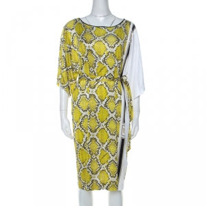 Class by Roberto Cavalli Yellow Snake Print Silk Jersey Short Sleeve Belted Dress L