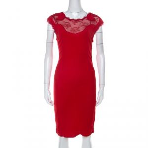 Class By Roberto Cavalli Red Lace Insert Detail Sleeveless Dress M - used