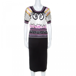 Class By Roberto Cavalli Multicolor Printed Bodice Knit Detail Sheath Dress M - used