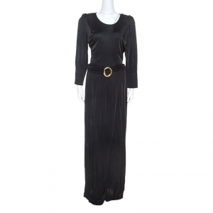 Class by Roberto Cavalli Black Jersey Belted Maxi Dress M - used