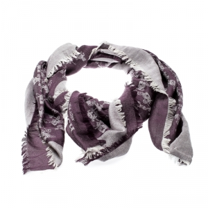 Coach Purple Silk Wool Horse And Carriage Oversized Square Scarf