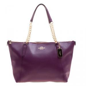 Coach Purple Leather Ava Chain Tote