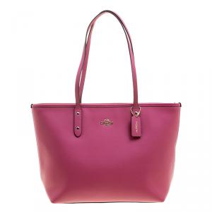 Coach Pink Leather City Zip Tote