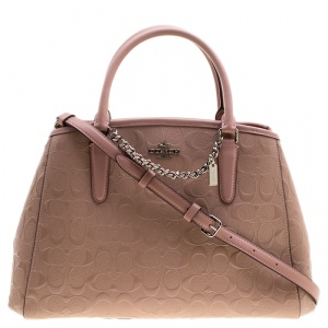 Coach Pink Signature Patent Leather Tote