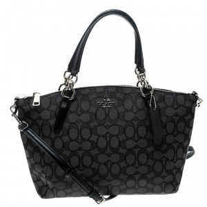 Coach Grey/Black Signature Canvas and Leather Kelsey Tote