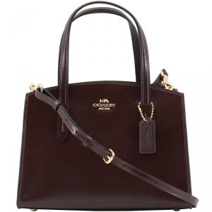 Coach Maroon Patent Crossgrain Leather Charlie Carryall 28 Bag